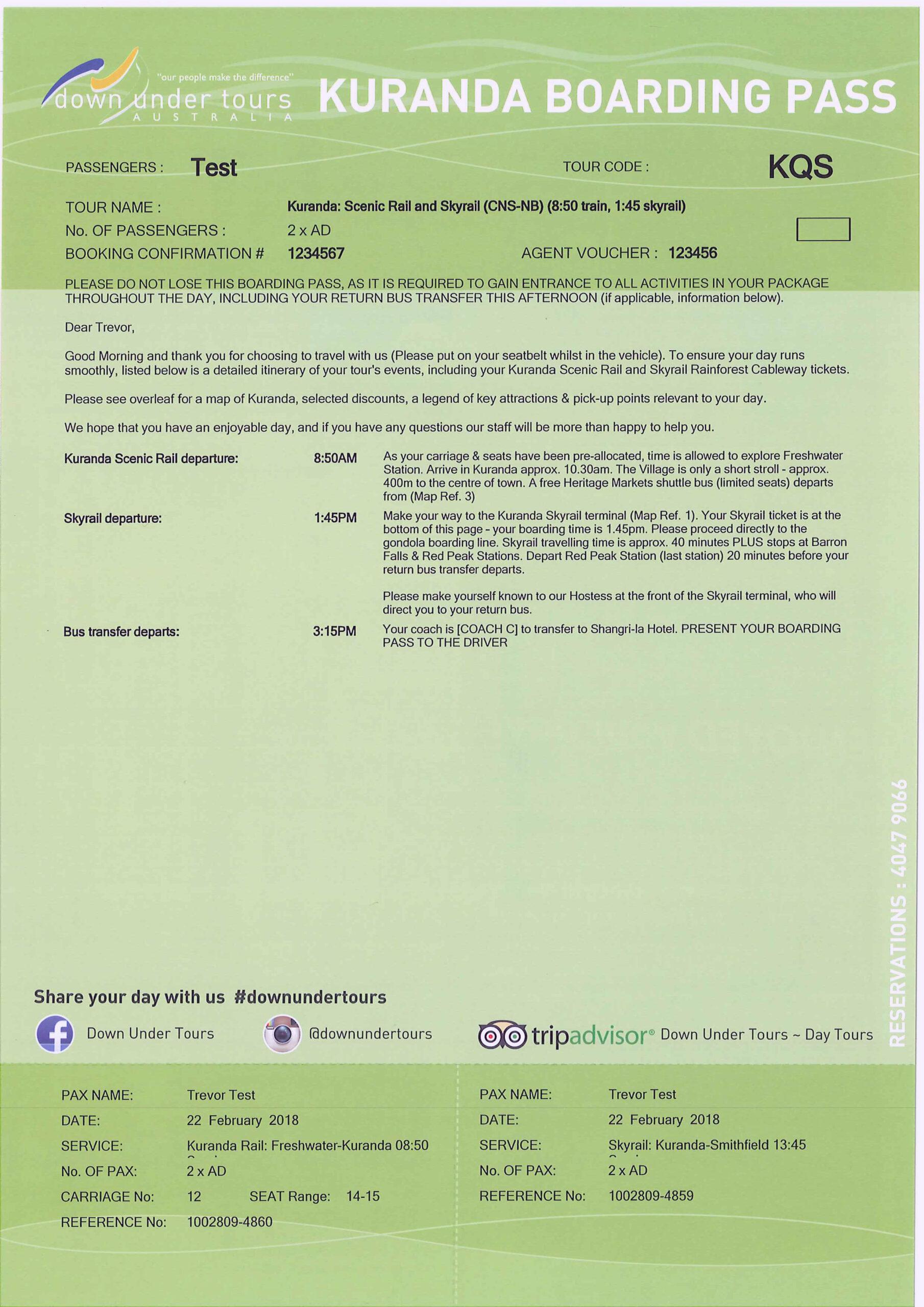 Kuranda: Skyrail, Rainforestation and Scenic Rail S-0945 Q-1530 XN